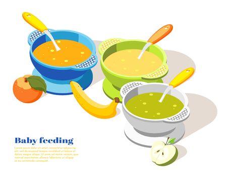 Nourriture saine pour bébé enfant en bas âge servant une composition de fond isométrique avec des bols de purée de pomme banane illustration vectorielle
