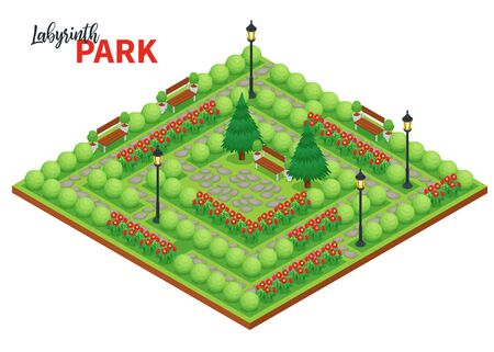 Labyrinth game composition with ornate text and platform with public park landscape with flowers bushes and benches vector illustration Vetores