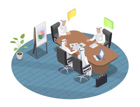 Arab people at business meeting in office 3d isometric vector illustration Vector Illustratie