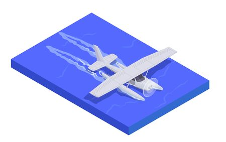 Air transport isometric composition with jet landing on water 3d vector illustration Ilustração