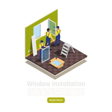House apartment room renovation isometric interior view with glass panes replacement new pvc window installation vector illustration