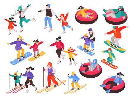 Isometric winter holiday time set with isolated characters of children and adults during sport activities vector illustration Векторная Иллюстрация
