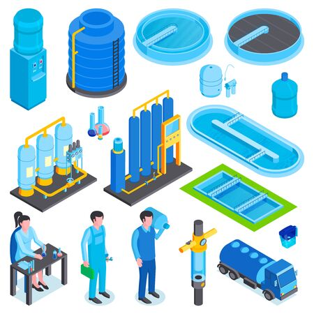 Isometric water purification technology set with isolated images of industrial machines storage tanks and human characters vector illustration