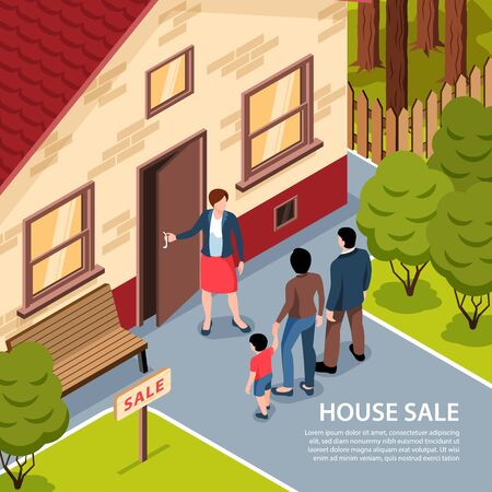 Isometric real estate background with outdoor landscape and agent opening house door to clients with text vector illustration