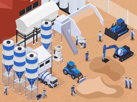 Composición isométrica de producción de cemento de hormigón plano y coloreado con trabajadores en la ilustración de vector de producción Ilustración de vector