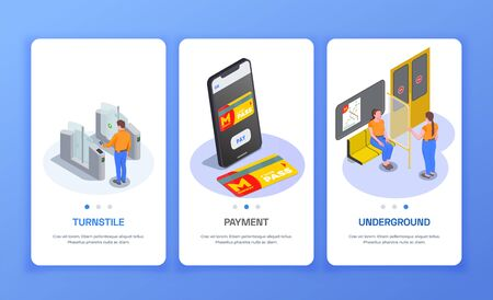 Set of three vertical banners with passengers in subway train turnstile and metro pass isometric isolated illustration