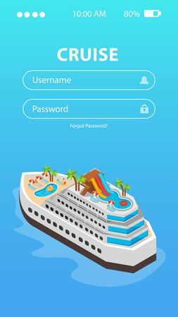 Sea cruise booking mobile app design with username and password inputs and liner image isometric vector illustration
