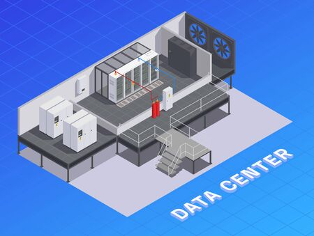 Data center facility infrastructure isometric composition with storage resources cooling equipment air flow devices generators vector illustration   イラスト・ベクター素材