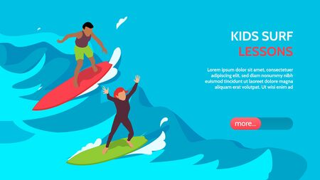 Kids surfschool lessons coaching supervision isometric horizontal landing page banner with children surfing in waves vector illustration  Ilustração