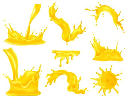 Fruit juice spray and splash realistic set isolated illustration
