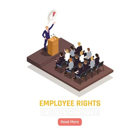 Trade union activist gives speech to employees at meeting on their rights protection isometric composition illustration