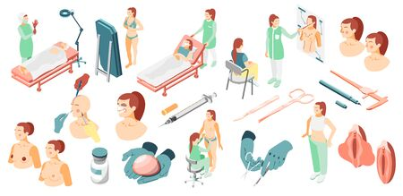 Plastic surgery isometric icons set with surgeons surgical instruments patients and corrected body parts isolated illustration