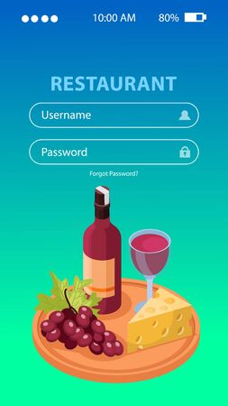 Wine production application background with username and password  isometric illustration