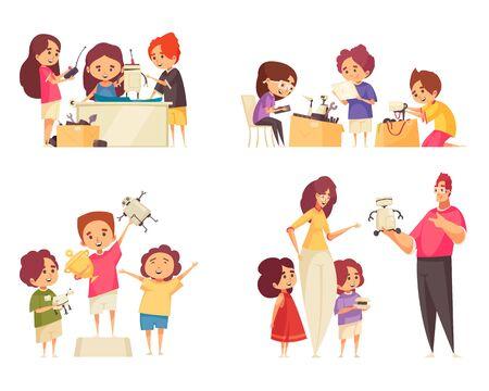 Robotics for kids 2x2 design concept with happy children creating and programming robots isolated illustration Ilustração Vetorial
