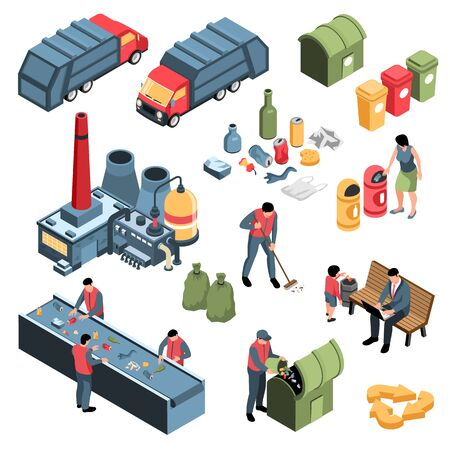 Isometric garbage waste recycling set with waste collecting sorting and burning industrial facilities with human characters illustration Illustration