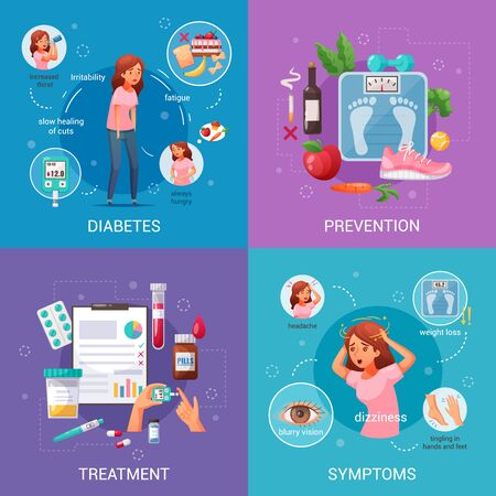 Prevention symptoms and treatment of diabetes cartoon 2x2 design concept on colorful background isolated vector illustration Ilustracja