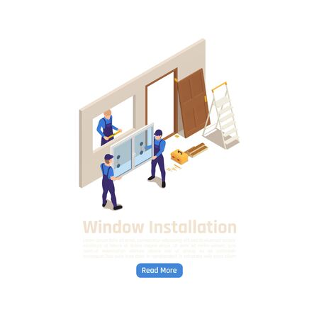 Building construction new pvc glass windows installation with workers adjusting insulated glazing wall element isometric vector illustration