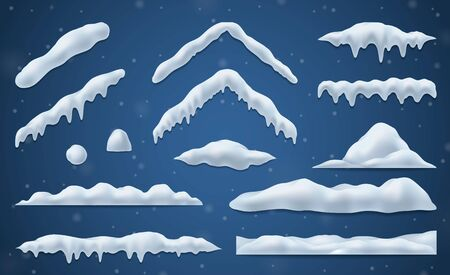 Snow caps and snowballs realistic set on blue background isolated vector illustration Illustration