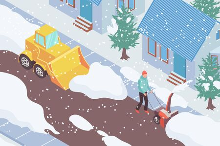 Snow removal vehicle and man clearing road in front of house 3d isometric illustration Stock Illustratie