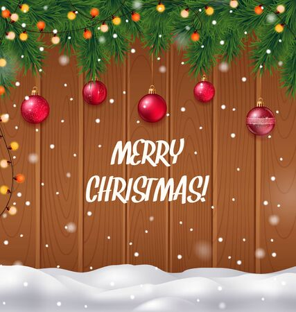 Merry Christmas realistic background with Christmas tree and snowfall vector illustration Illustration