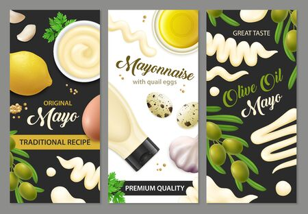 Realistic mayonnaise banners set with three vertical backgrounds editable text and images of eggs and vegetables illustration
