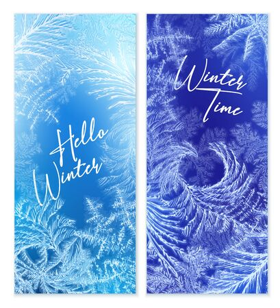 Frost window vertical banners set with winter symbols realistic isolated vector illustration