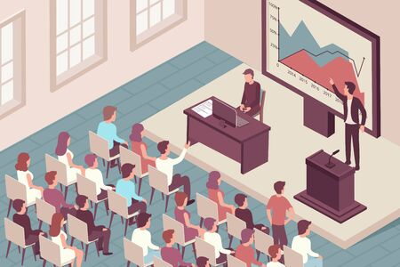 Man speaking at scientific conference isometric background 3d vector illustration