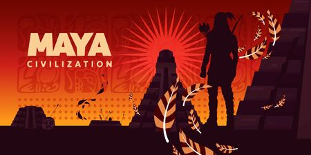 Maya civilization horizontal vector illustration with silhouette of indian looking at at kukulkan pyramid on sunrise background