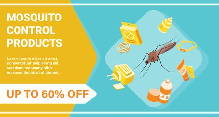 Mosquito control products poster with discount symbols isometric vector illustration