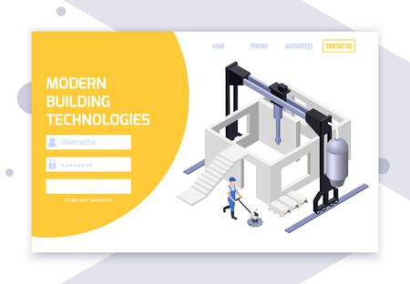 Concrete cement production isometric web site login page with fields for username password and clickable links vector illustration