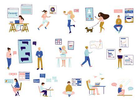 People and gadgets icons set with virtual communication symbols flat isolated vector illustration Vector Illustration