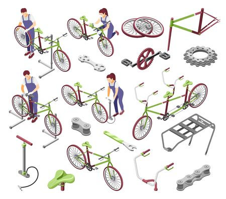 Bicycle repair service spare parts accessories isometric set with repairman cogs chain handlebar saddle isolated vector illustration