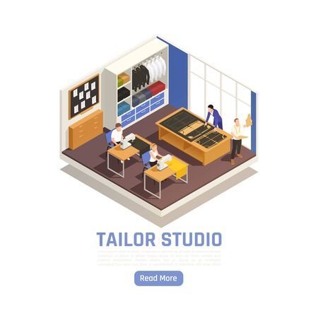 Fashion atelier haute couture studio interior isometric view with tailor at cutting table seamstress sewing vector illustration