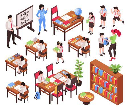 Ensemble d'écoles juniors isométriques de pièces isolées de mobilier de classe et de personnages humains d'enseignants et d'écoliers illustration vectorielle