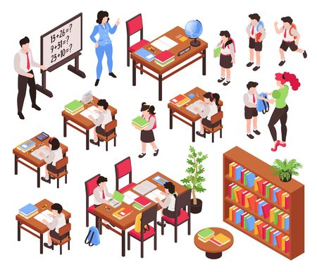 Isometric junior school set of isolated pieces of classroom furniture and human characters of teachers and schoolchildren vector illustration