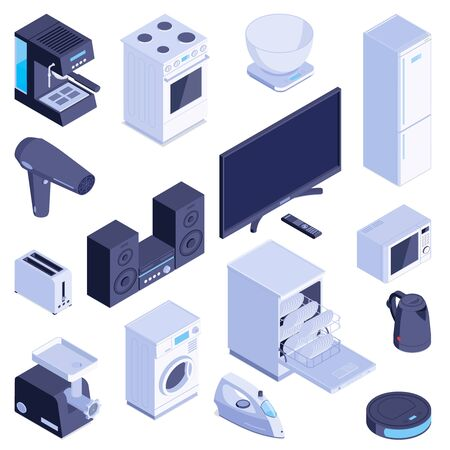 Stellen Sie mit isolierten isometrischen Bildern von Haushaltsgeräten moderne Haushaltsmaschinen für Zuhause auf leerer Hintergrundvektorillustration ein