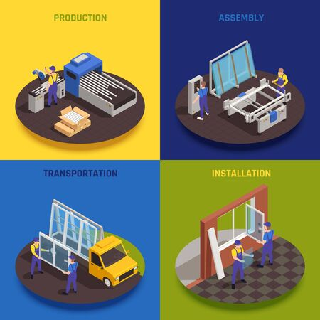PVC glass window production concept 4 isometric compositions with manufacturing assembling transportation installation colorful background vector illustration