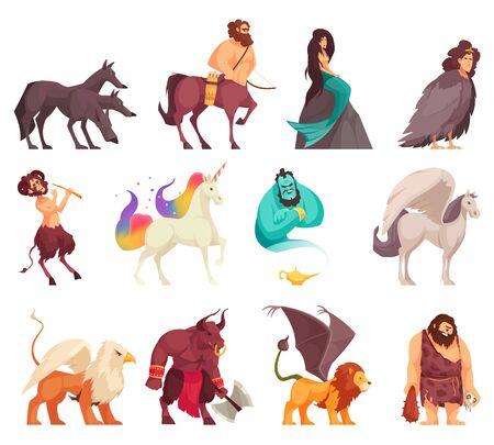 Criaturas mágicas míticas, espíritus, monstruos, dibujos animados, estilo, iconos, conjunto, con, cíclope, sirena, centauro, unicornio, cerberus, vector, ilustración