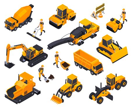 Isolated road construction isometric icon set with different yellow bulldozers cars machines vector illustration