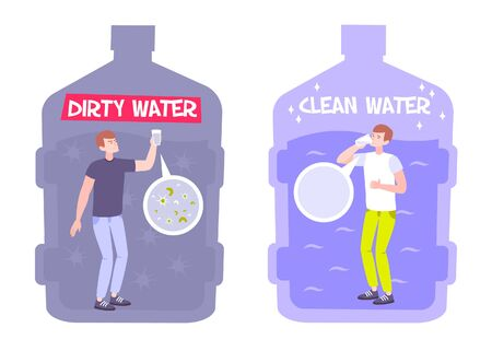 Dirty water concept with flat composition of human characters inside bottles of muddy and pure water vector illustration