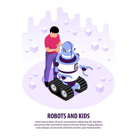 Isometric robots kids  with human character of teenage boy repairing robot crawler with editable text