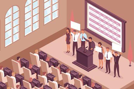 Isometrische Zusammensetzung des Wahlkampfs mit Innenansicht des Kammersaals mit stellvertretenden Sitzen der Fenster und Bühnenvektorillustration Vektorgrafik