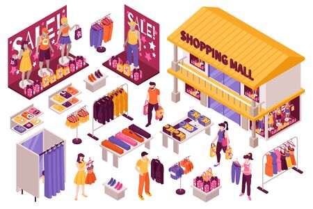 Clothing store isometric set with shopping mall building fitting room sale display stands racks customers vector illustration