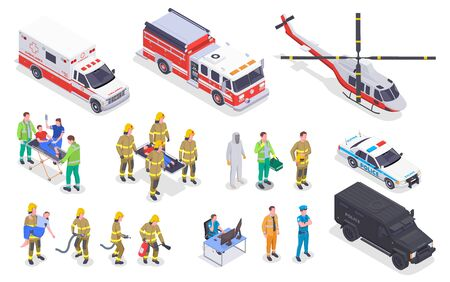 Emergency service isometric set with isolated images of special vehicles with fire fighting personnel ambulance crew vector illustration