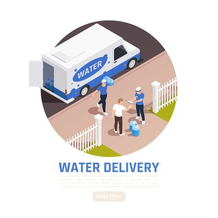 Water delivery isometric background with view of fenced yard and delivery truck with people and text vector illustration