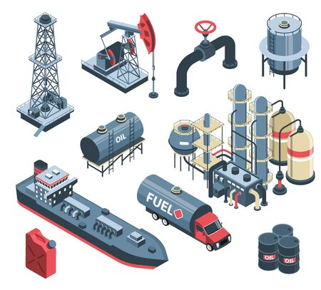 Set of isometric oil petroleum industry with isolated images of factory plant facilities and storage units vector illustration