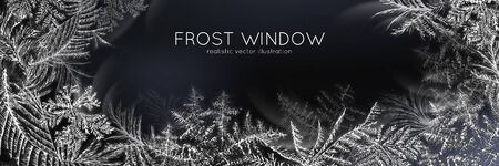 Frost window horizontal black white poster realistic vector illustration