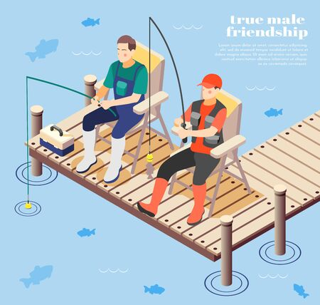 Isometric background with two true male friends fishing 3d vector illustration