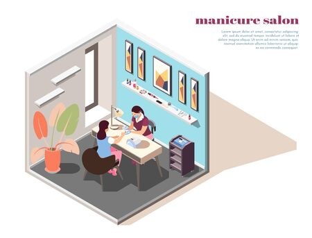 Isometric composition with woman having her nails painted in manicure salon 3d vector illustration