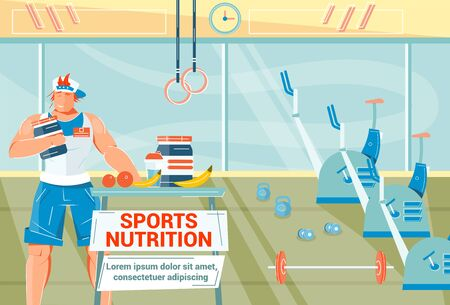 Sports nutrition flat background with athlete drinking protein in gym vector illustration